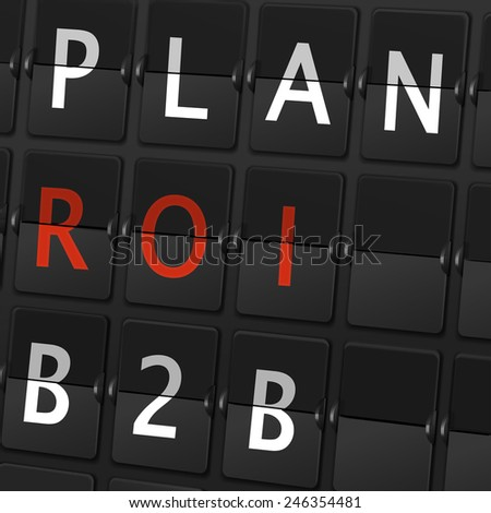 plan ROI B2B words on airport board background - stock vector