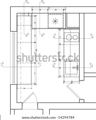 Plan View Of A Kitchen Furniture Drawing