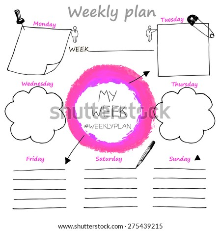 Plan your week, weekly plan, hand drawn, vector - stock vector