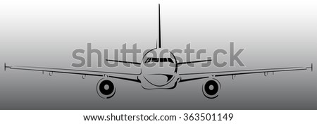 Plane abstract lines vector logo. Vector illustration - stock vector