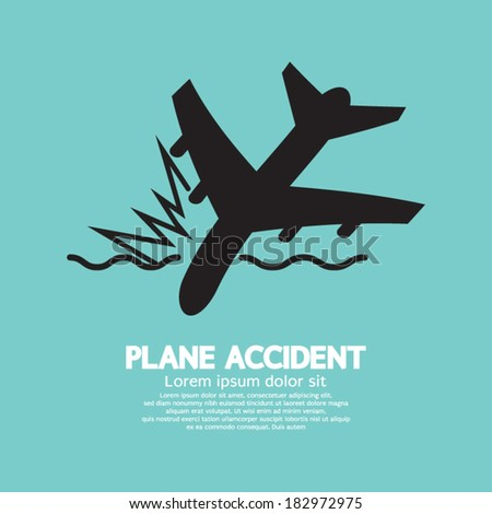 Plane Accident Sinking Into The Sea - stock vector
