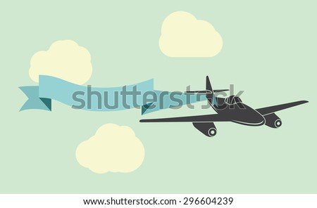 Plane and banner vector illustration - stock vector