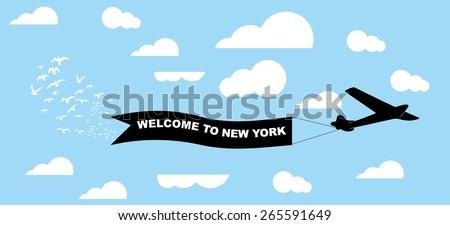 plane and ribbon vector art - stock vector