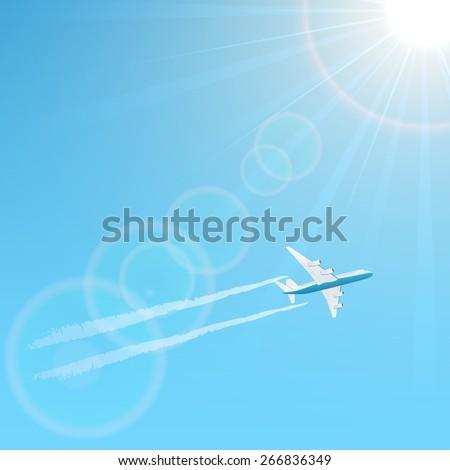 Plane and vapor trail on blue sky background, illustration. - stock vector