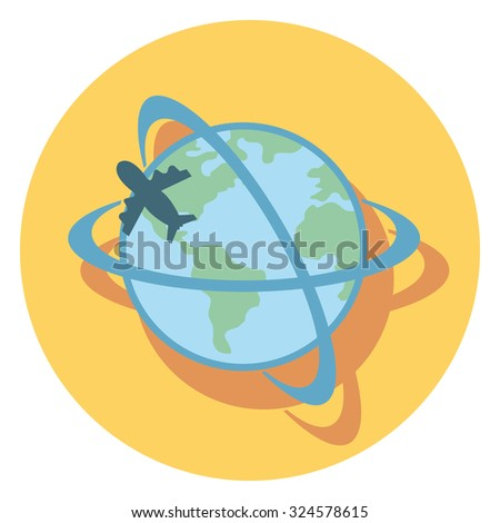 plane and world flat icon in circle - stock vector