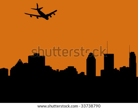 plane arriving in Montreal at sunset illustration