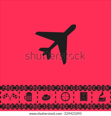 Plane. Black flat vector icon and bonus symbol - Racing flag, Beer mug, Ufo fly, Sniper sight, Safe, Train on pink background - stock vector