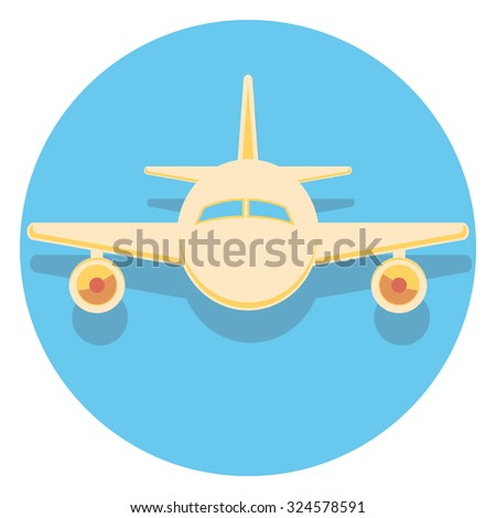 plane flat icon in circle - stock vector