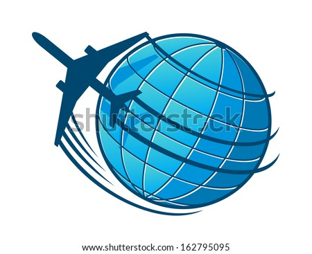 Plane flies around the earth. Concept of travel or transportation industry design - stock vector