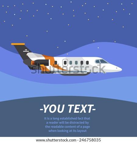 Plane flies through the sky. Vector flat illustration - stock vector