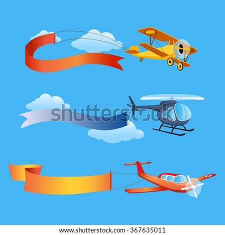Plane Flies with Long Banners for Text on a Background of Sky. vector Illustration - stock vector