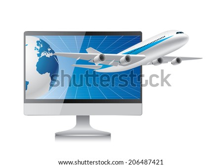 Plane fly out from computer - stock vector