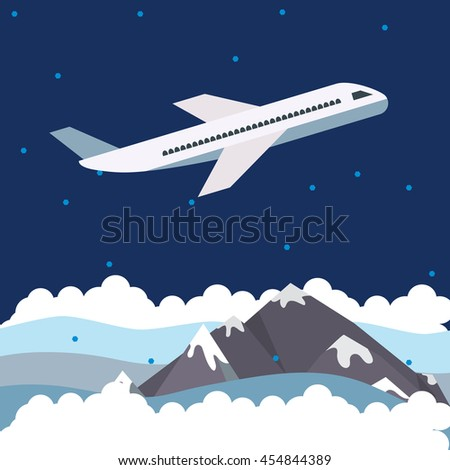 Plane flying at night over snow covered mountains, vector creative concept flat illustration, for posters and covers.  - stock vector