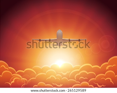 Plane flying in the sky above the clouds, illustration. - stock vector