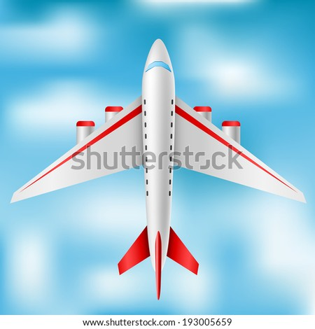 Plane from top - stock vector