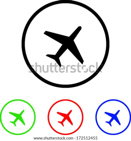 Plane  Icon Illustration with Four Color Variations - stock vector