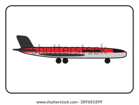 Plane icon in the frame. Red airplane, isolated on white background. Industrial or passenger transport. Detailed modern flat style. Symbol of holiday, and tourism. Design element. Vector illustration. - stock vector