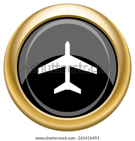 Plane icon. Internet button on white  background. EPS10 Vector.  - stock vector