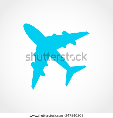 Plane Icon Isolated on White Background - stock vector