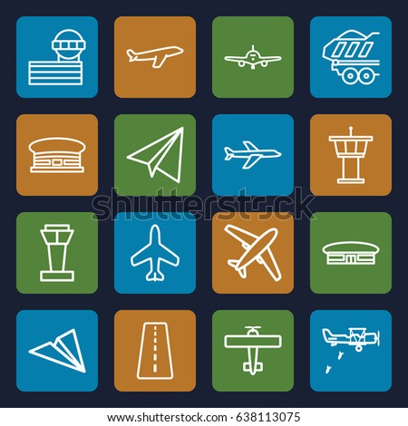 Plane icons set. set of 16 plane outline icons such as plane, airport tower, runway, airport