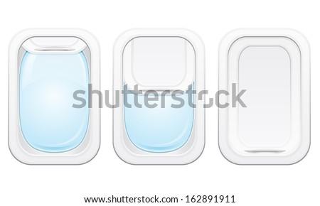 plane porthole vector illustration isolated on white background - stock vector