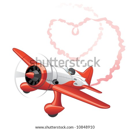 Plane sending love message - stock vector