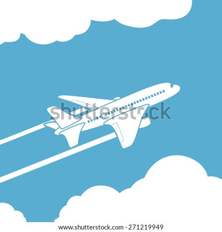 Plane silhouette against the sky with clouds. Vector image. - stock vector