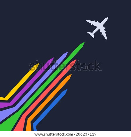 Plane silhouette on a blue background. Vector illustration - stock vector