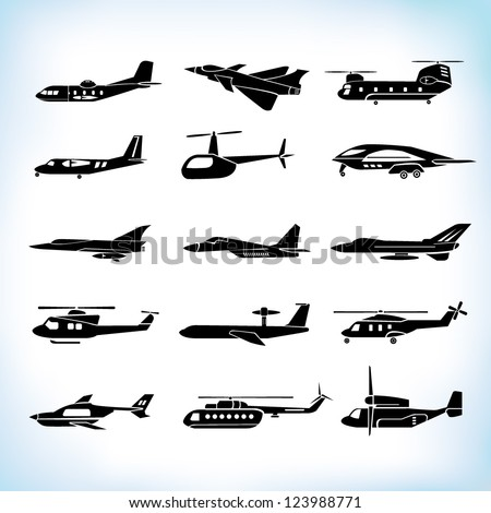 plane silhouettes set - stock vector