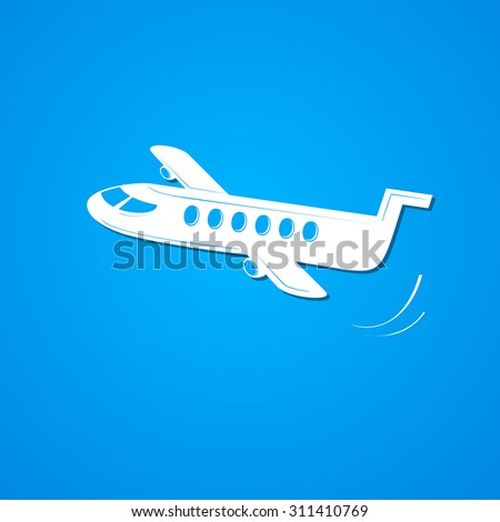 Plane symbol, airplane logo, simple vector illustration on sky background - stock vector
