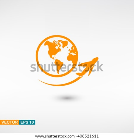 Plane travel icon vector eps 10. Orange Plane travel icon with shadow on a gray background. - stock vector
