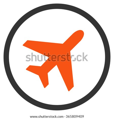 Plane vector icon. Style is bicolor flat circled symbol, orange and gray colors, rounded angles, white background.