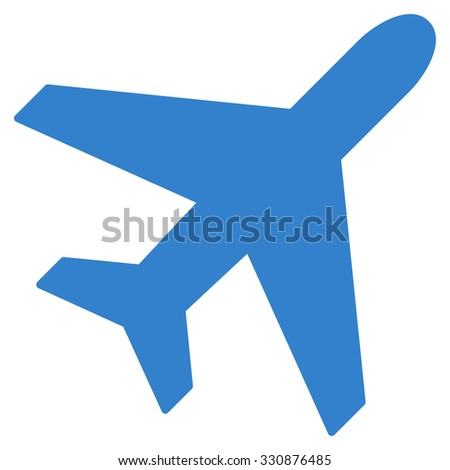 Plane vector icon. Style is flat cobalt symbol, rounded angles, white background.