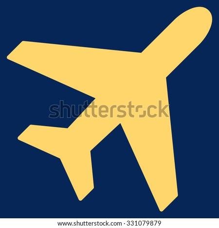 Plane vector icon. Style is flat yellow symbol, rounded angles, blue background.