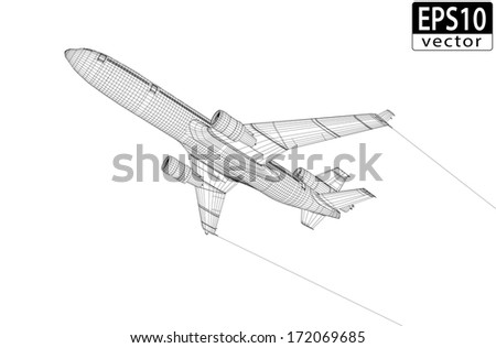 Plane Wireframe | EPS10 Vector - stock vector