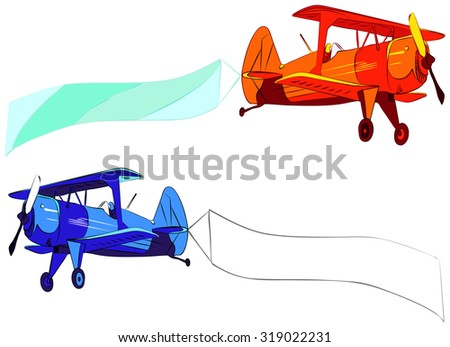 Plane with blank sky banner, vector illustration, isolated on white - stock vector