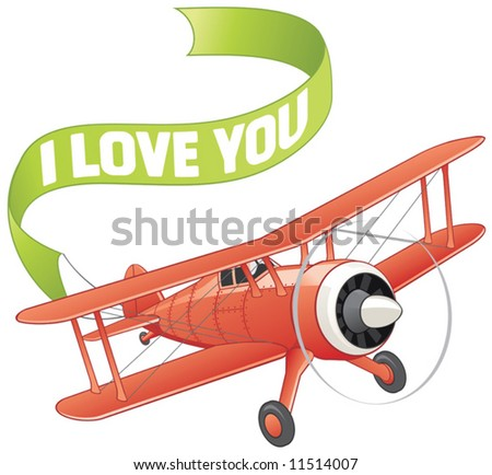 Plane with love banner - stock vector