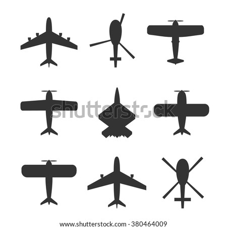 Planes and helicopters icons set. Planes icons, helicopters symbols. Pictogram collection. Planes and helicopters silhouettes