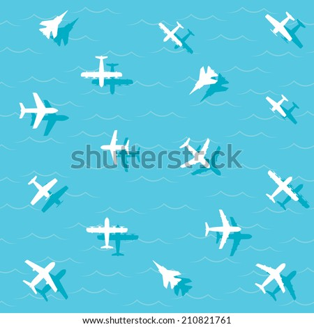 planes fly over the sea. vector. eps10 - stock vector