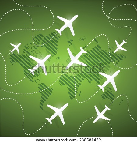 planes flying around the globe. illustration design over a green background - stock vector