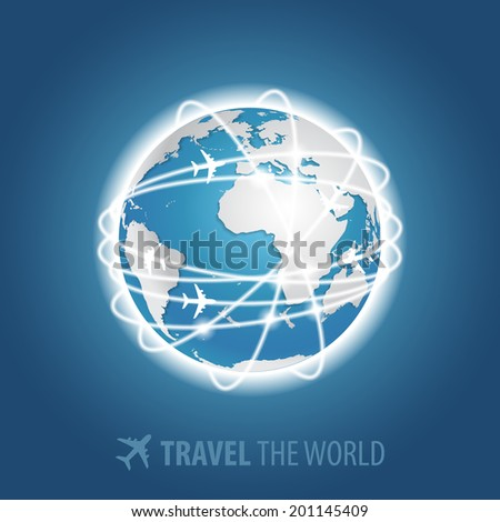 Planes flying around the globe. Vector EPS10 - stock vector