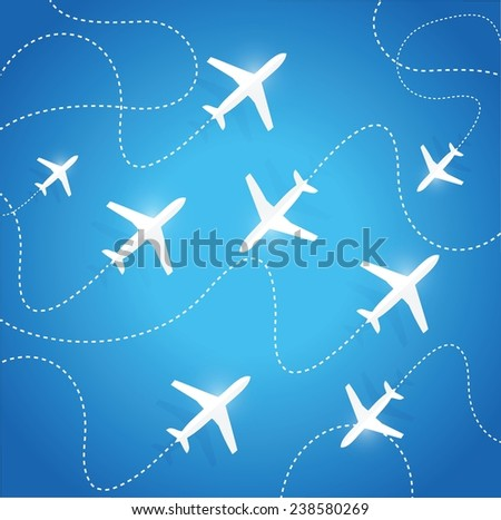 planes flying in different directions. illustration design over a blue background - stock vector