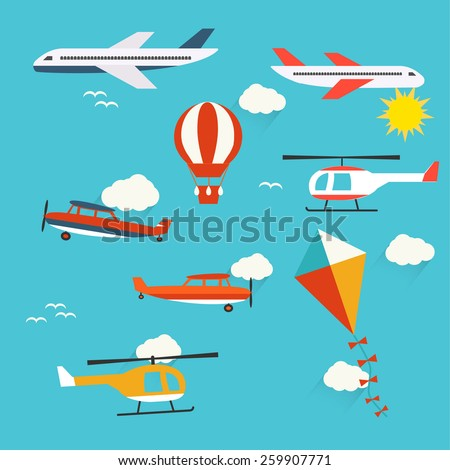 Planes, helicopters,  hot air balloon and kite, vector illustration - stock vector
