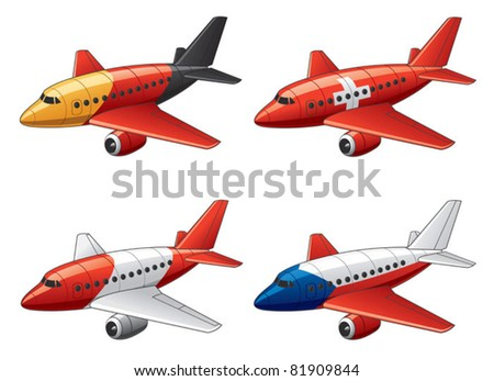 Planes in Germany, Switzerland, Austria and Czech Republic flag colors - stock vector