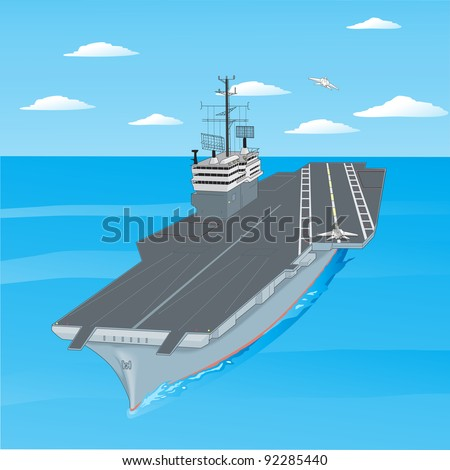 Planes taking off from the deck of an aircraft carrier in the ocean. - stock vector