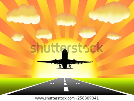 Planes taking off on the runway on a background of sunset - stock vector
