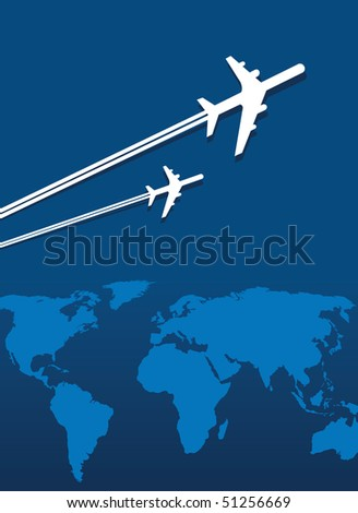 planes traveling the world - stock vector