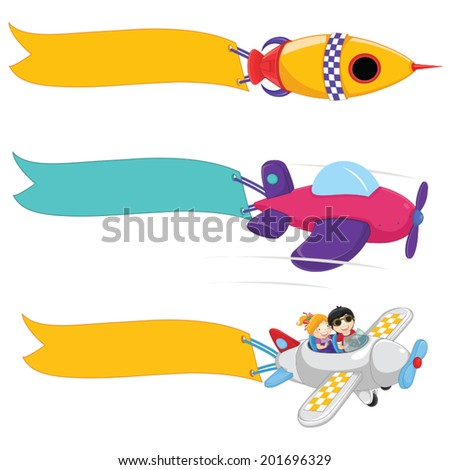 Planes With Banners Vector Set - stock vector