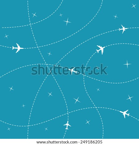 Planes with trajectories and stars on the blue sky seamless vector background - stock vector