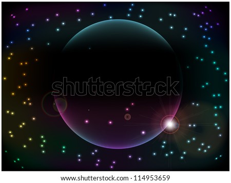 planet against the starry sky - stock vector